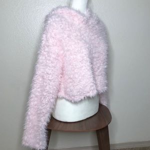Pink Fluffy Cropped Teddy Hoodie